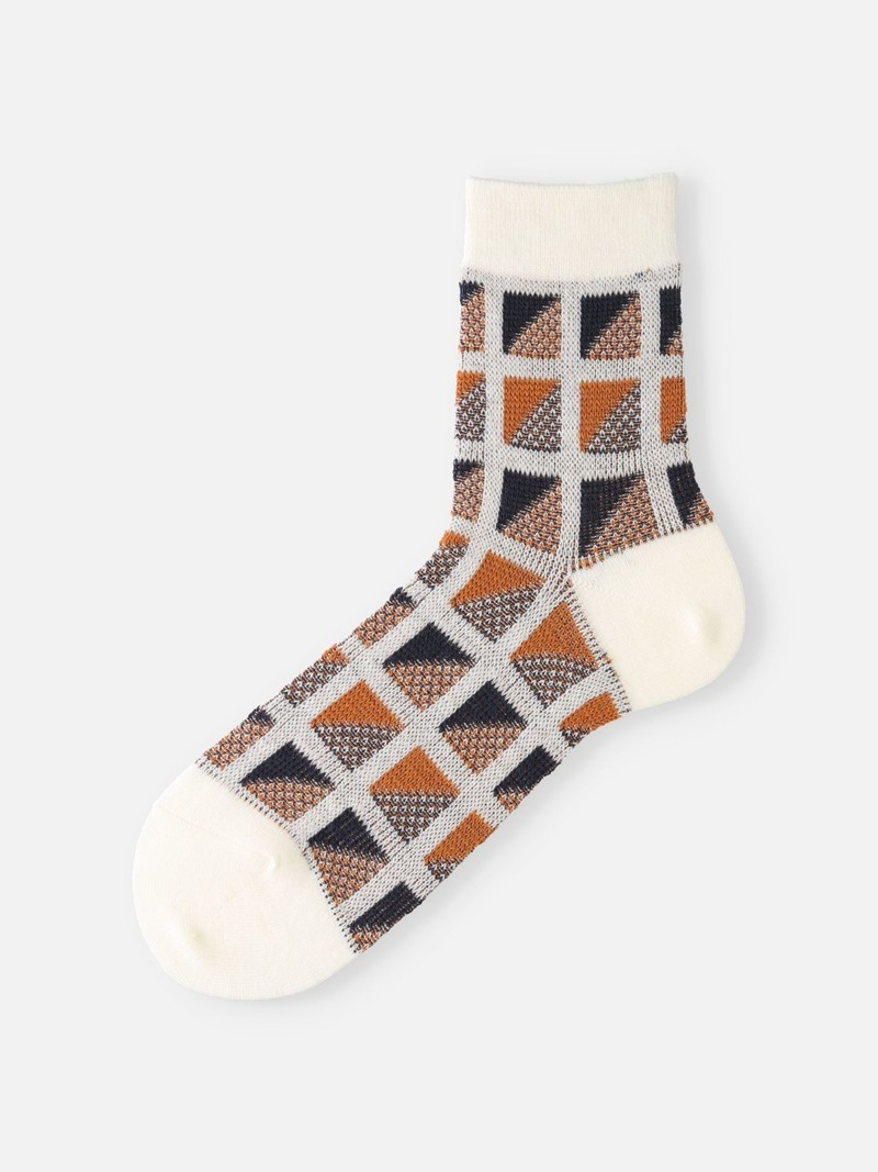 Merino Wool Block Panel Short Socks