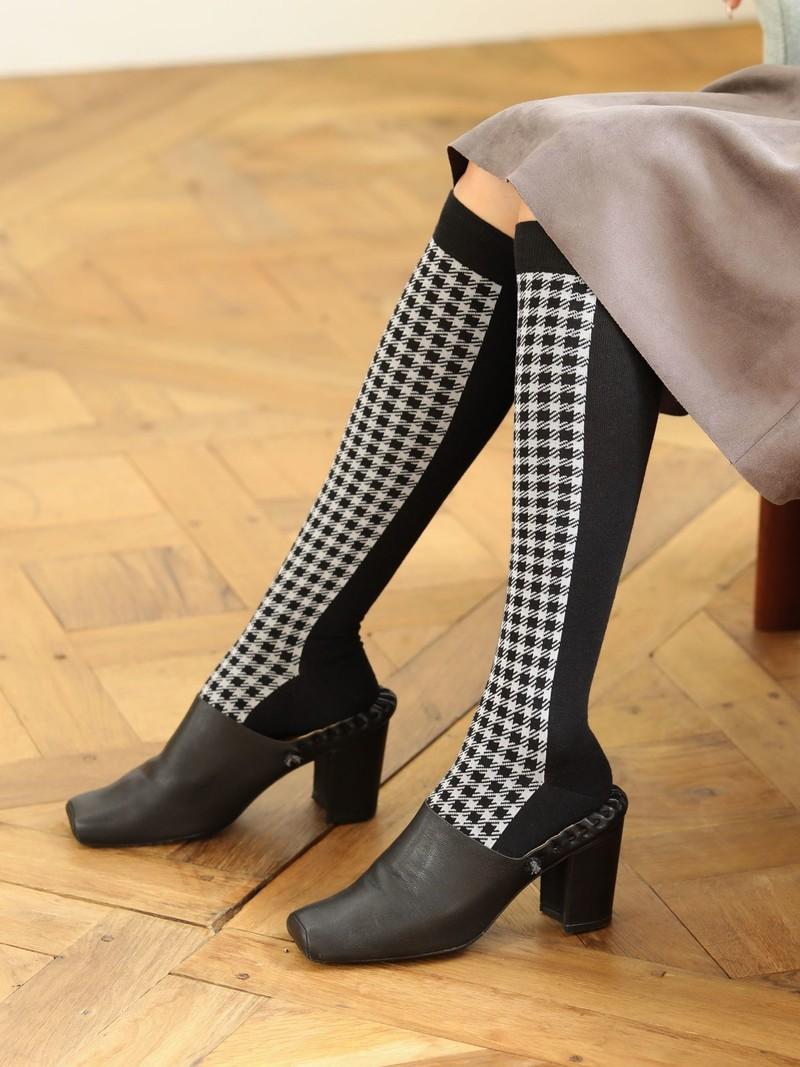 Wool Panel Gingham Check Knee High Socks