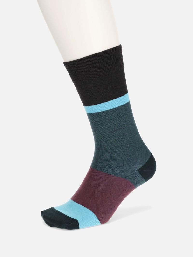 Heathered Colour Panel Mid-Calf Socks M