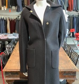 Chiarulli Damenmantel mit Kapuze <br /> in Wolle Jersey