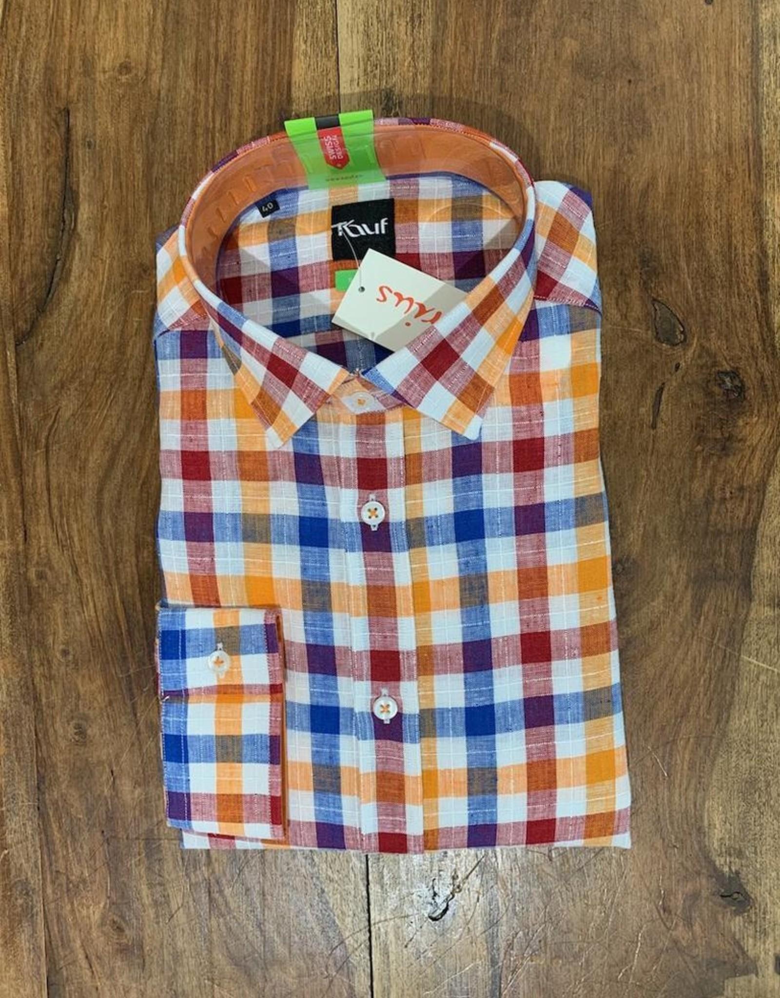 Kauf Kauf Hemd Body Fit <br /> Karo blau rot orange auf weiss<br /> Armlänge 72 cm