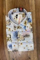 Kauf Kauf Hemd Modern Fit Kurzarm Palm-Blumen blau weiss
