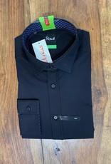 Kauf Kauf Hemd Body Fit <br /> Uni schwarz mit farbigem Ausputz<br /> Armlänge 72 cm