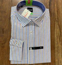 Kauf Kauf Hemd Body Fit <br /> Leinen Streifen blau braun<br /> Armlänge 72 cm