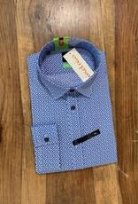 Kauf Kauf Hemd Body Fit <br /> Minimals blaublau auf weiss<br /> Armlänge 72 cm