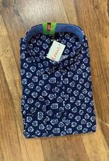 Kauf Kauf Hemd Body Fit <br /> Blaue Blüten dunkelblau<br /> Armlänge 72 cm