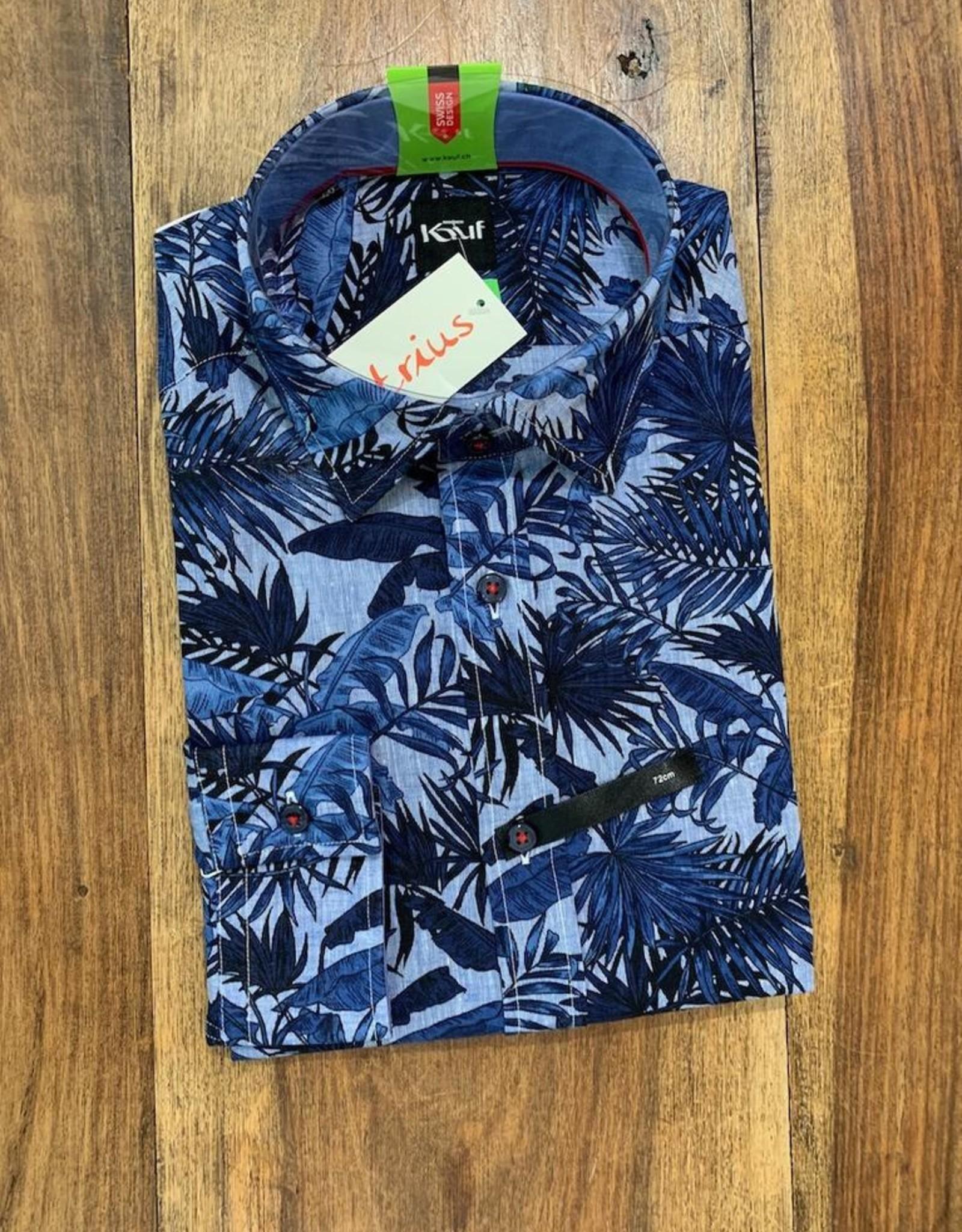 Kauf Kauf Hemd Body Fit <br /> Blaue Palmen<br /> Armlänge 72 cm