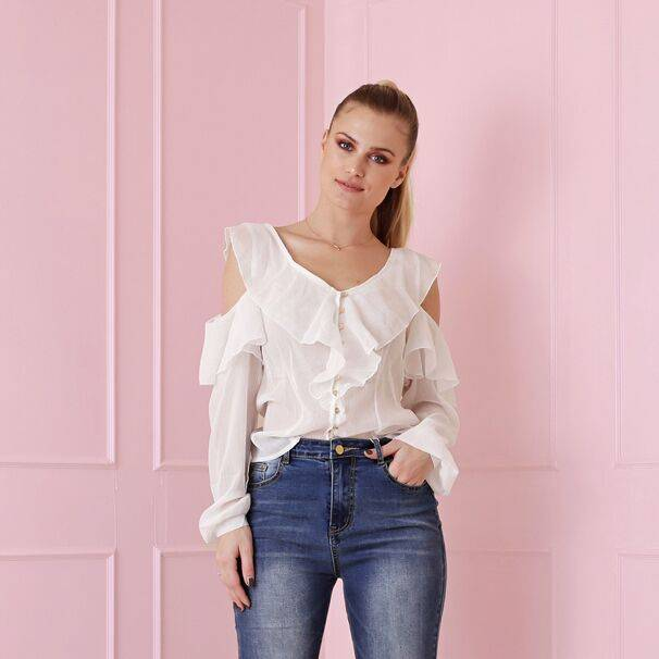 Maison Runway / Delousion SALE HELAH WHITE DL10018 BLOUSE