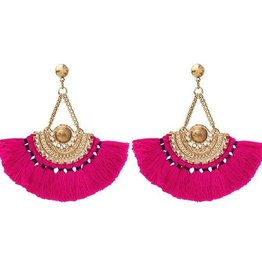 My jewellery BOHO TASSEL EARRINGS PINK GOLD MY JEWELLERY