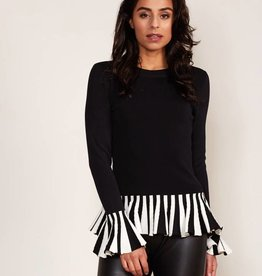 Jacky luxury PULLOVER RUFFLE B/W JACKY LUXURY | JLFW18010 BLACK WHITE SALE