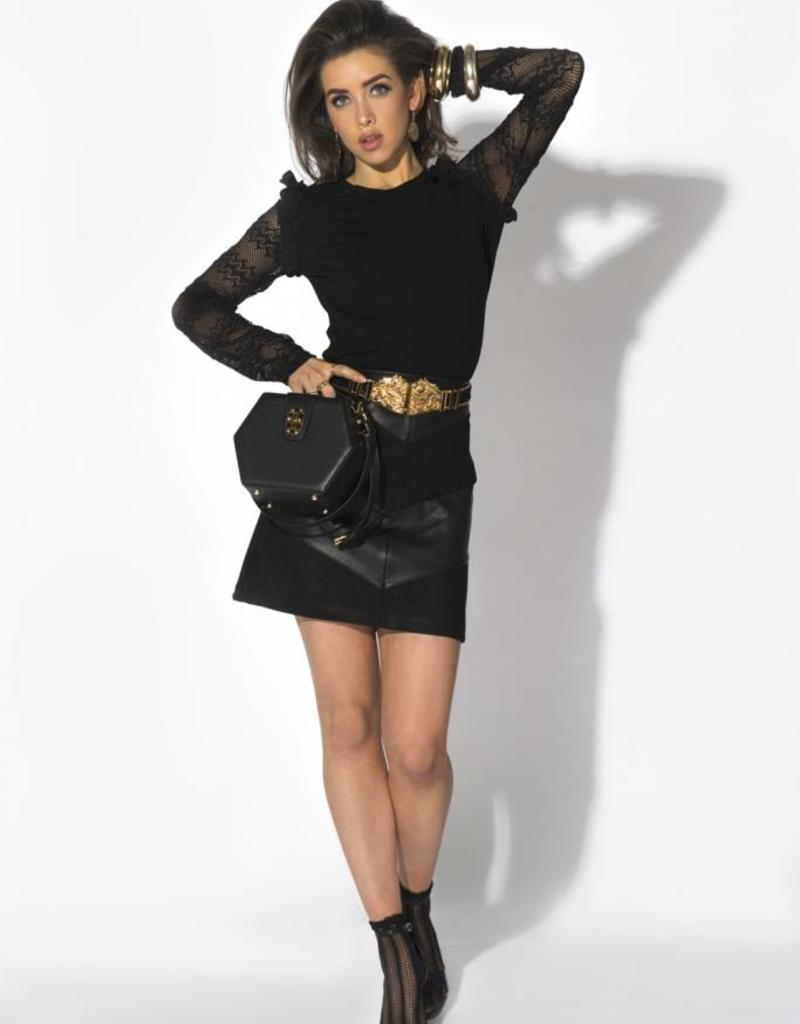 Glamorous RONYA SKIRT BLACK LEATHER/SUEDE GLAMOROUS gl-18021-5565