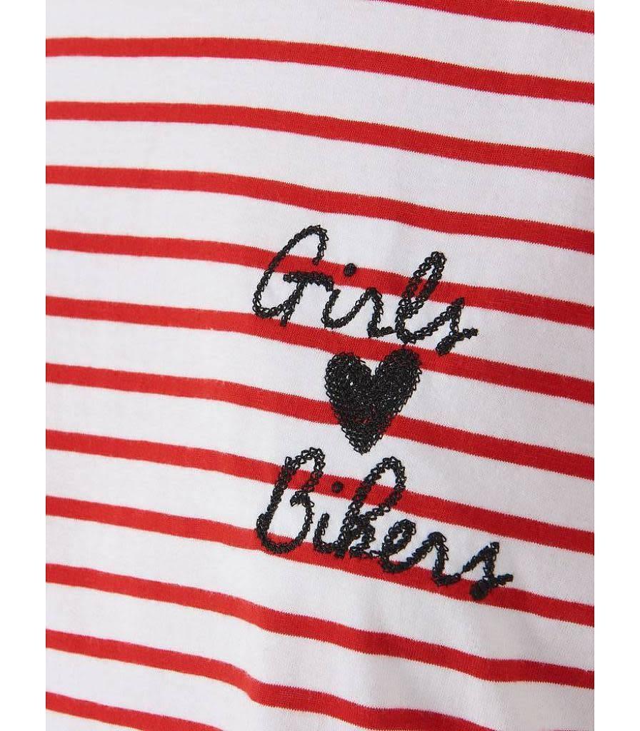 Purewhite SALE 17040151W STRIPE TEE GIRLS LOVE BIKERS RED PUREWHITE