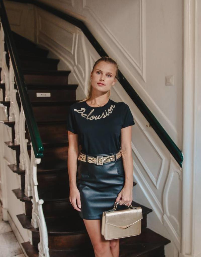 Maison Runway / Delousion Skirt night black leather