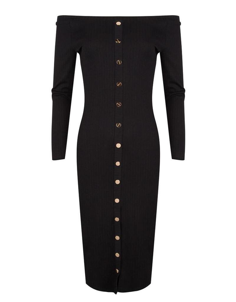 Jacky luxury Off-shoulder jurk met gouden details  JLSS19032