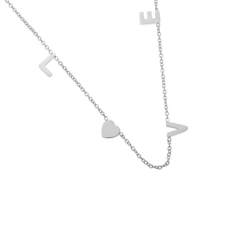 Sieraden by Ladybugs Ketting Love Letters stainless steel