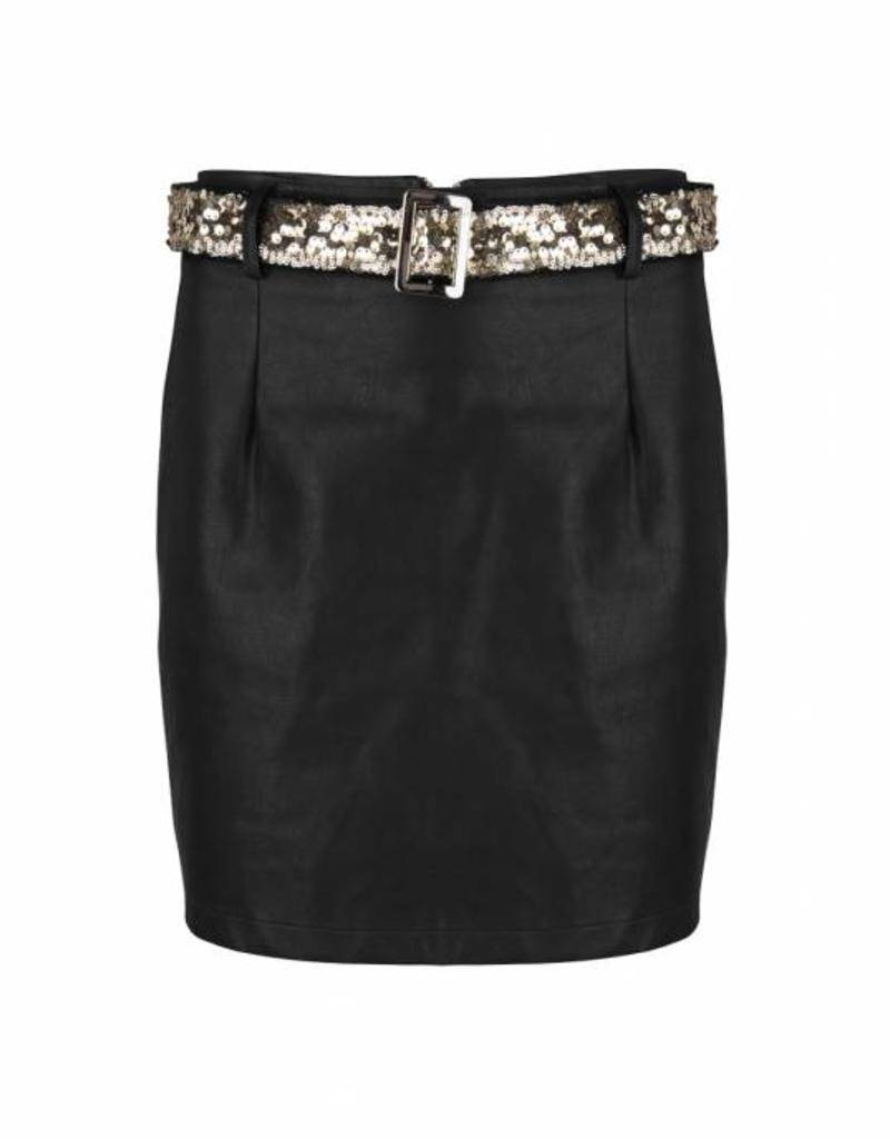Maison Runway / Delousion Skirt night offwhite beige leather