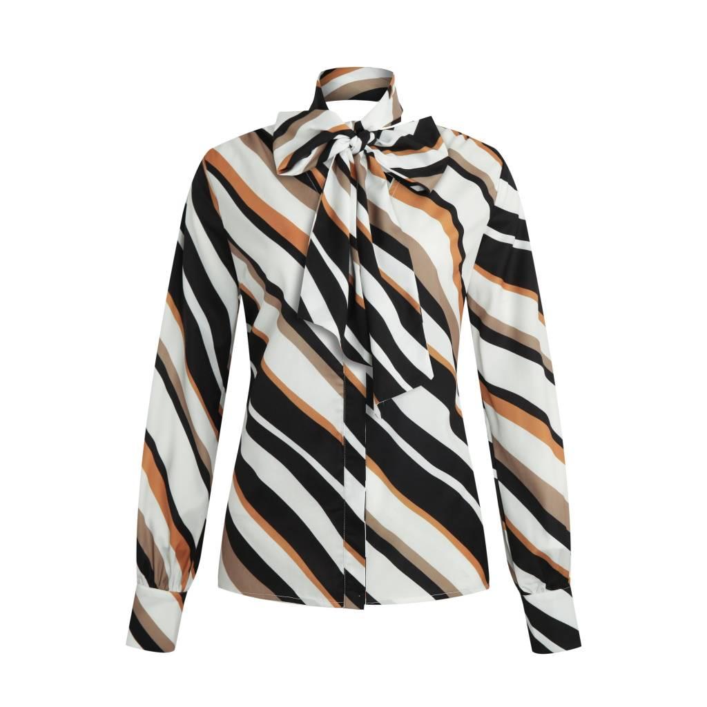 Given Desiree blouse GW119116 beige stripe