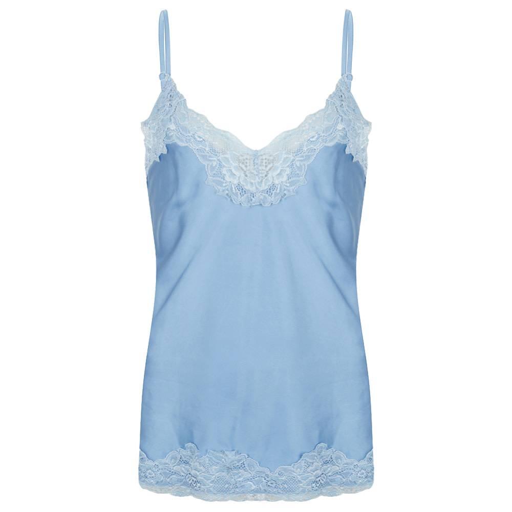 Jacky luxury Top basic satin lace bleu jlss19020A