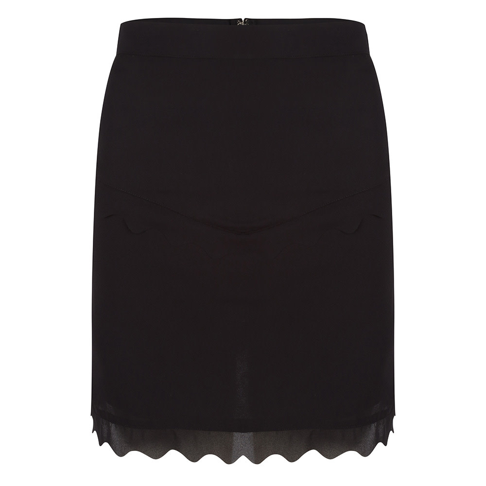 Jacky luxury SKIRT WITH SCALLOPS JLSS19066 Black