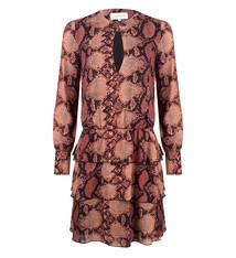 JLFW19004 Dress ruffle skirt snake print
