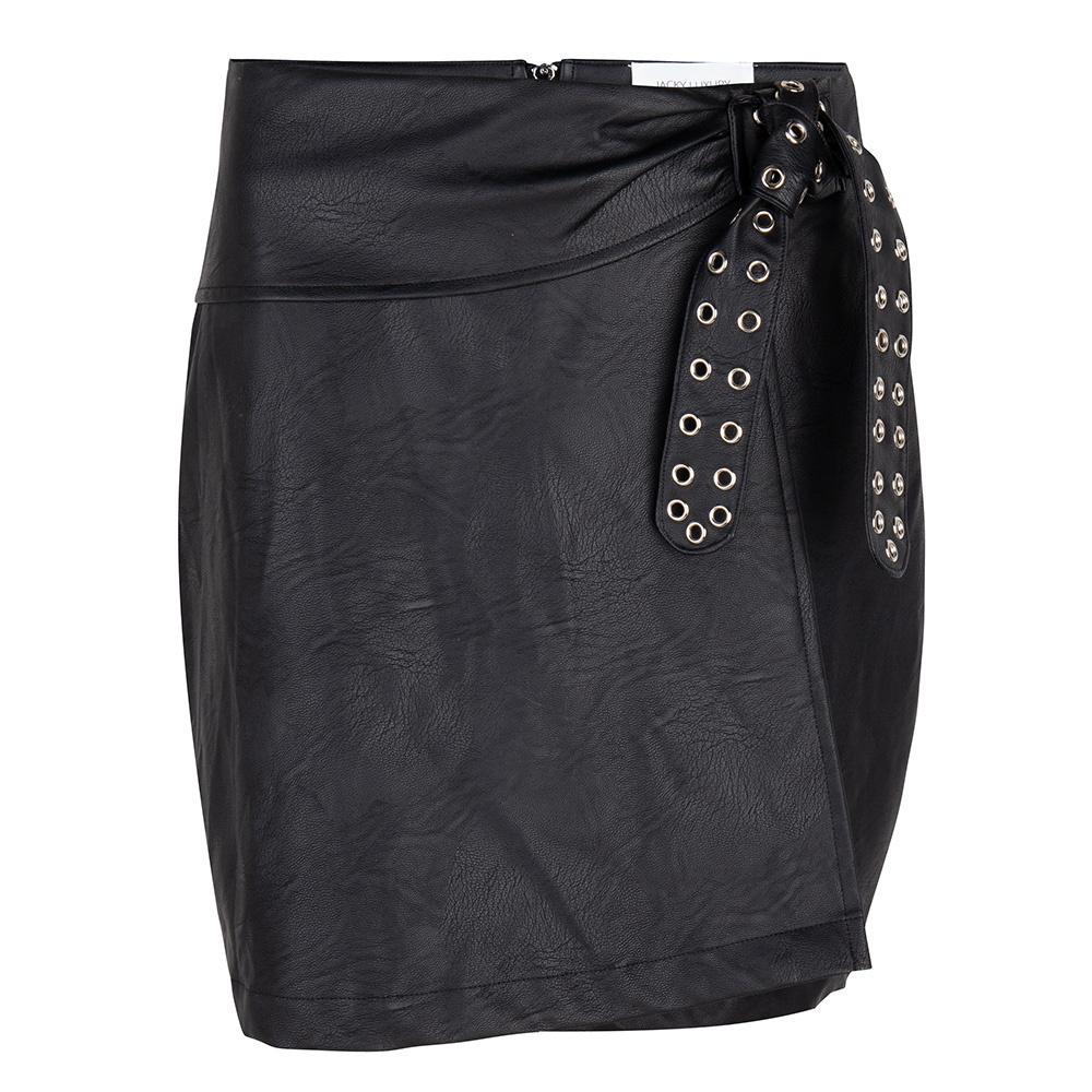 JLFW19153 Leather look skirt black