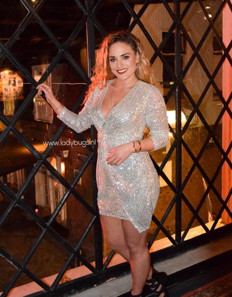 Sequin dress deep V champagne