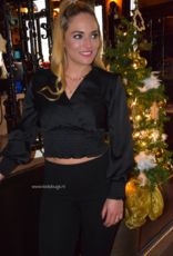 Satin crop blouse ONE SIZE black