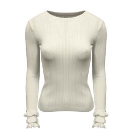 HT5367 Ruffel sleeve knit WIT