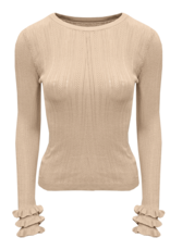 HT5367 Ruffel sleeve knit BEIGE