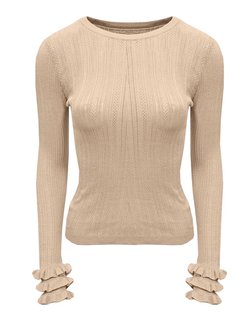 Ladybugs HT5367 Ruffel sleeve knit BEIGE