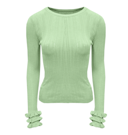 HT5367 Ruffel sleeve knit MINT