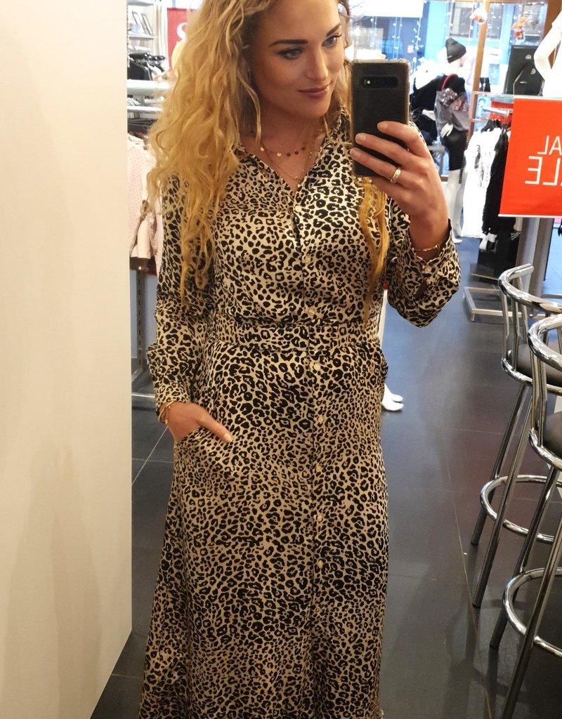 BR627 Leopard blouse jurk met riem