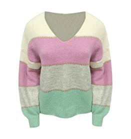 SH011P Striped sweater Vneck ONE SIZE