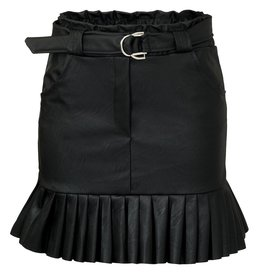 Ladybugs Leather plisse skirt BLACK
