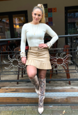 Ladybugs Leather plisse skirt BEIGE