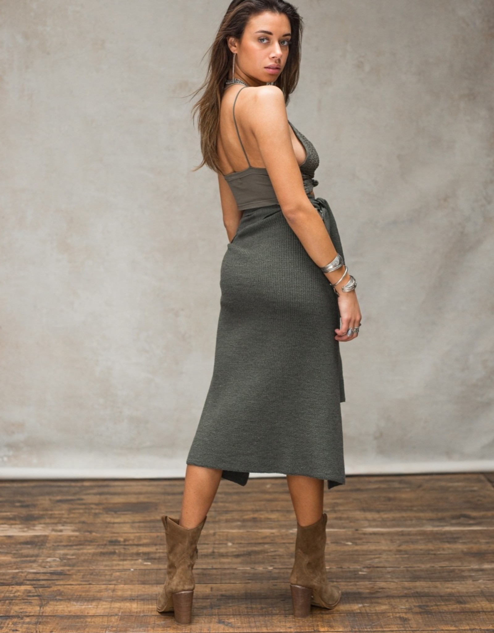 Moost Wanted Adiva Knitted Wrap Skirt sensual green
