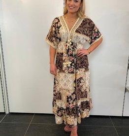 Ladybugs Maxi dress Ibiza met leren vlecht en pompoms BLACK one size