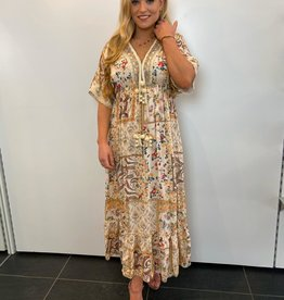 Ladybugs Maxi dress Ibiza met leren vlecht en pompoms BEIGE one size