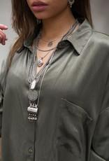 Moost Wanted Solar satin blouse dress Sensual green