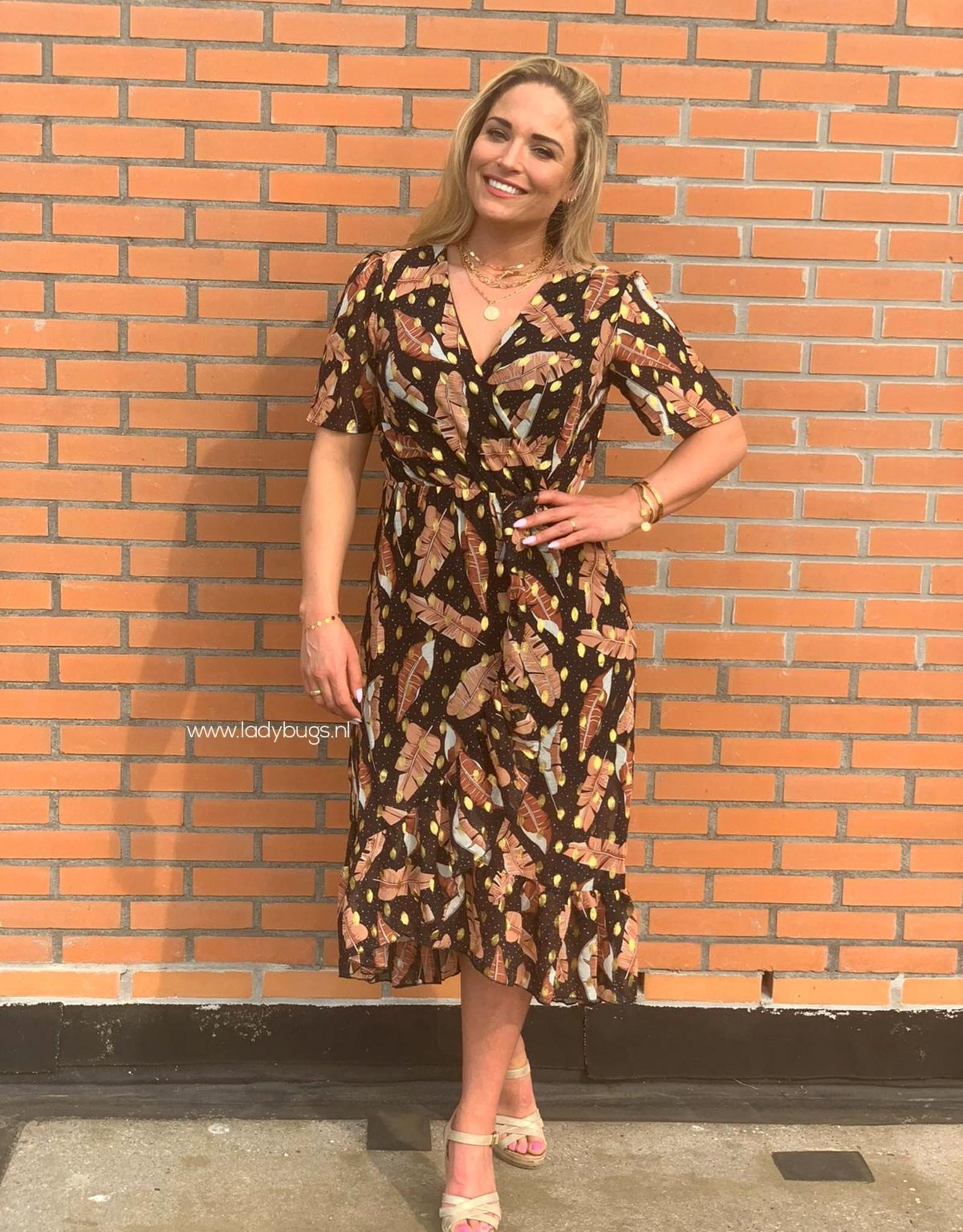 Ladybugs CY655 Golden dots dress abrikoos/zwart/blauw