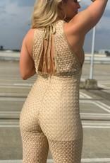 Ladybugs Sparkle jumpsuit open back BEIGE/GOLD