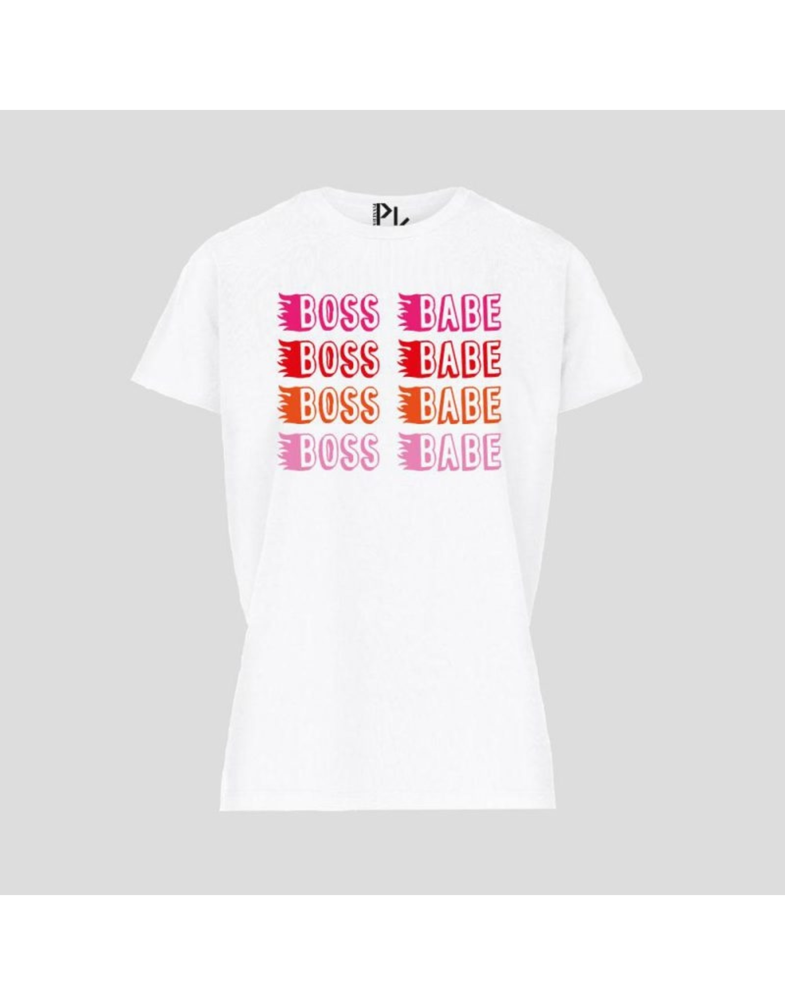 Pinned by K t-shirt Boss Babe wite