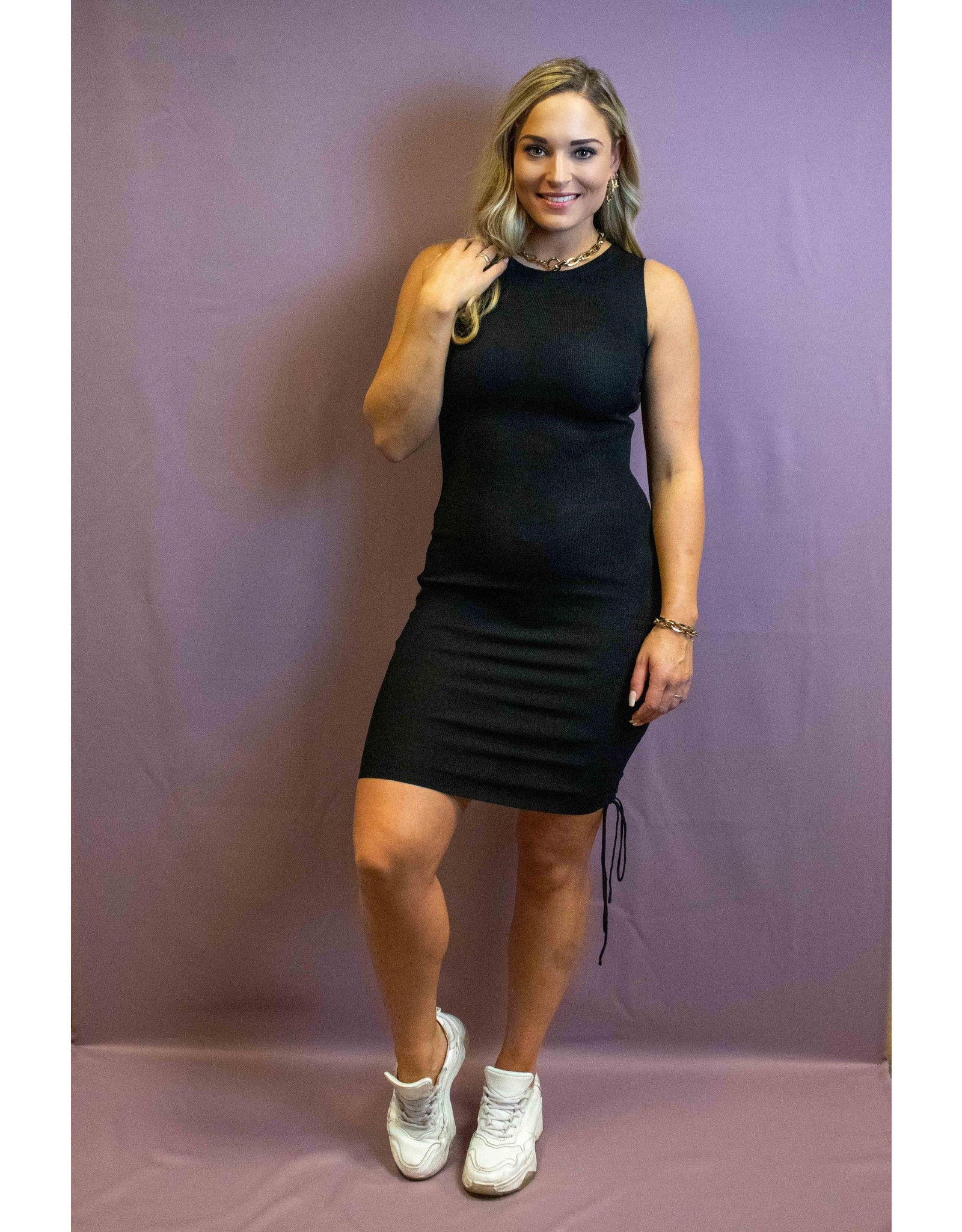 Ladybugs 08364 Small ribbed dress with strings BLACK