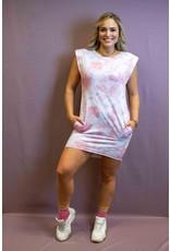 Ladybugs 9938  Boyfriend fit basic dress met schouder vulling TIE DYE ROZE