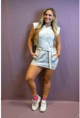 Ladybugs 9938 Boyfriend fit basic dress met schouder vulling TIE DYE TAUPE
