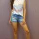Ladybugs 10827 Boyfriend fit basic shirt met schouder vulling TIE DYE ROZE/GEEL