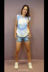 Ladybugs 10837 Boyfriend fit basic shirt met schouder vulling TIE DYE BLAUW/GEEL