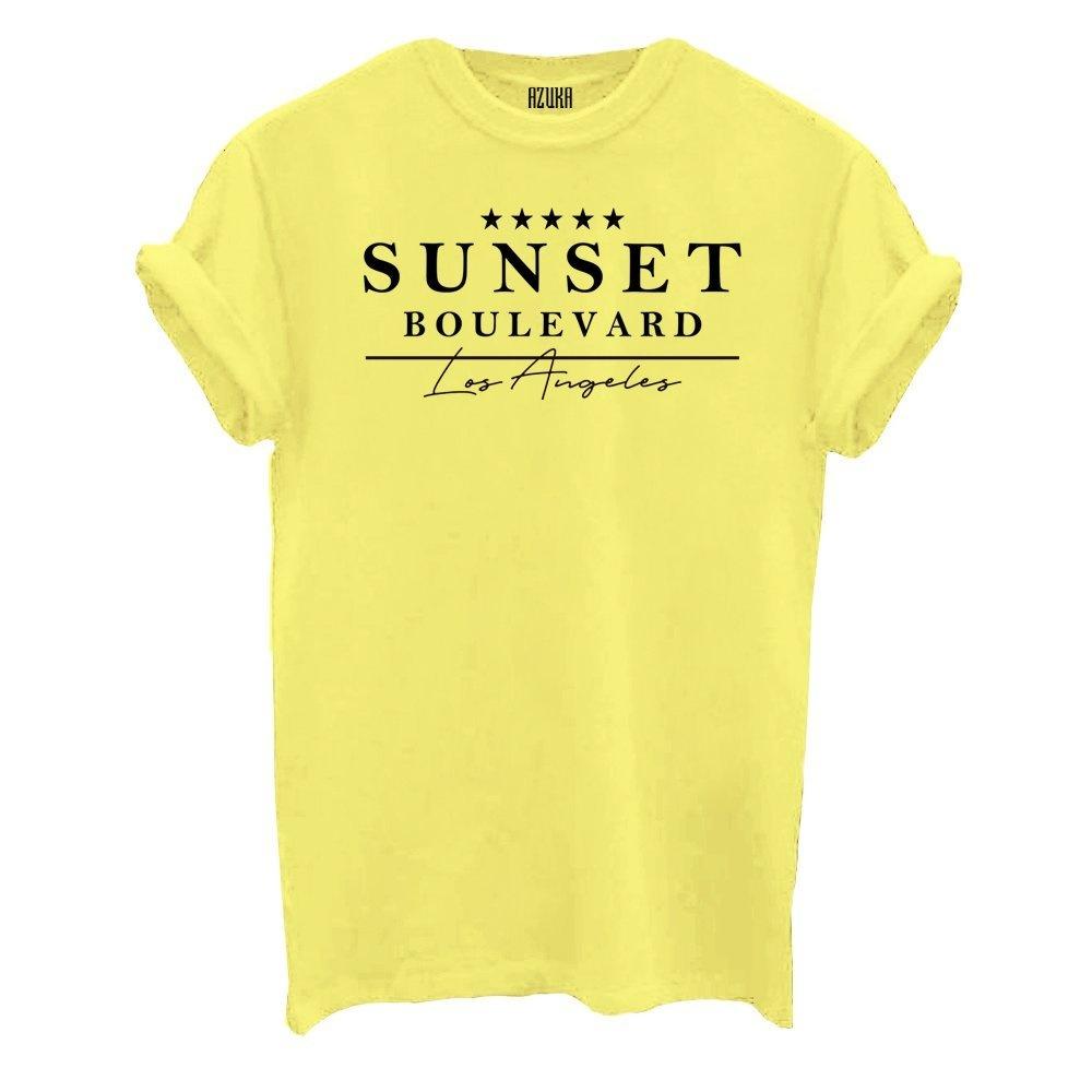 Sale shirtje van Azuka in het geel met leuke opdruk