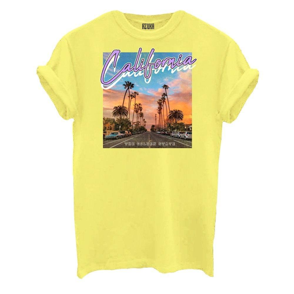Sale shirtje van Azuka met print in de kleur geel nu afgeprijsd