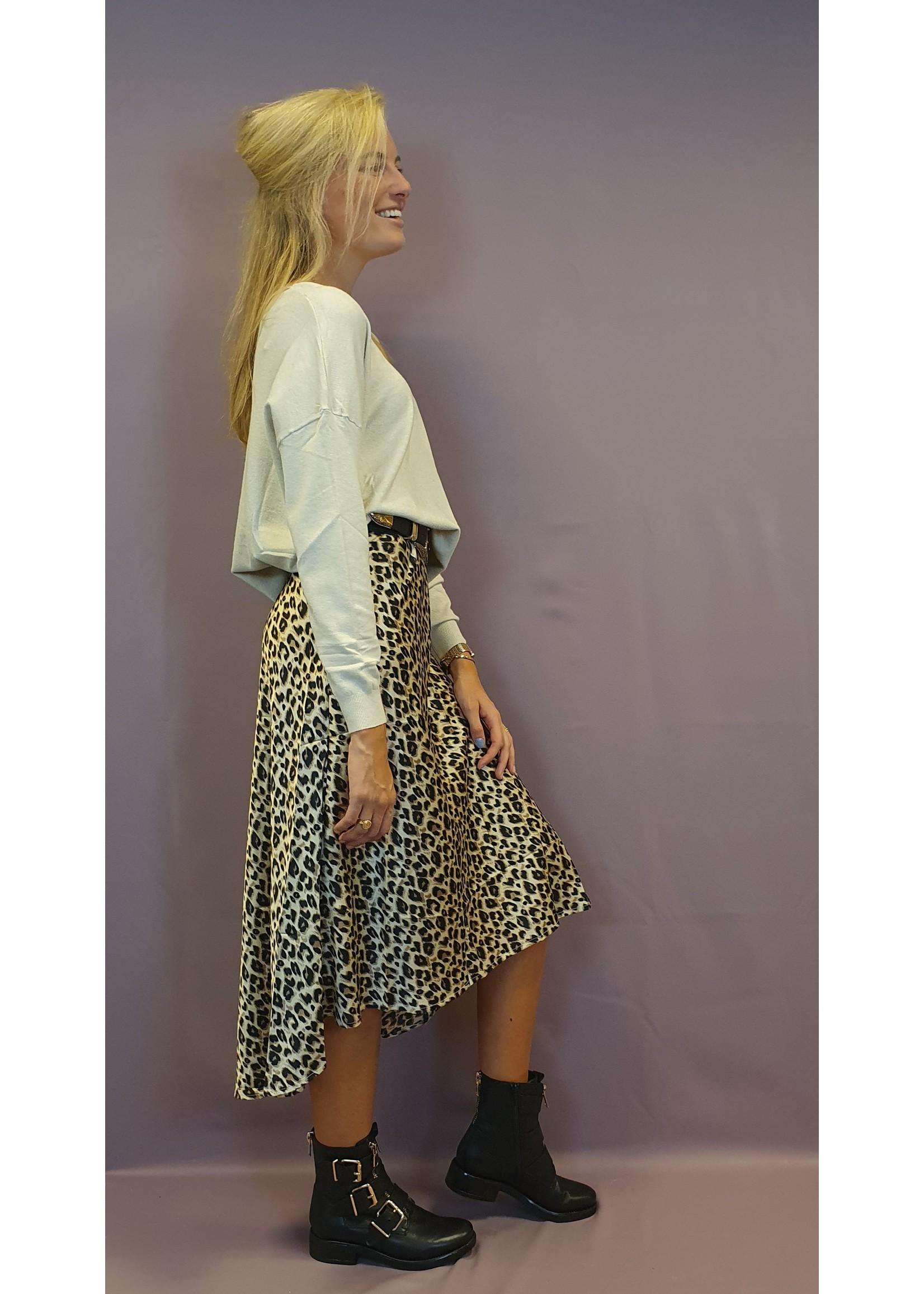 Ladybugs Iris  AP1005 leopard satin skirt BEIGE